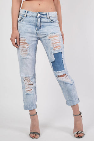 Cropped High Waisted Ripped and Patch Mom Jeans in Denim MODEL FRONT 2