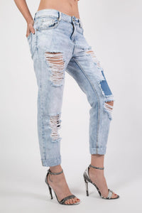Cropped High Waisted Ripped and Patch Mom Jeans in Denim MODEL SIDE
