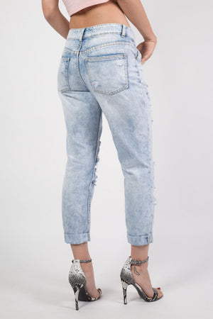 Cropped High Waisted Ripped and Patch Mom Jeans in Denim MODEL BACK
