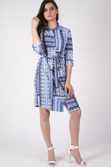 Crepe Geometric Print Belted Shirt Dress in Blue MODEL FRONT