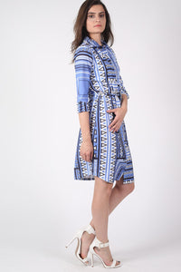 Crepe Geometric Print Belted Shirt Dress in Blue MODEL SIDE