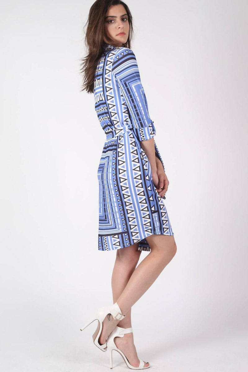 Crepe Geometric Print Belted Shirt Dress in Blue MODEL SIDE 2