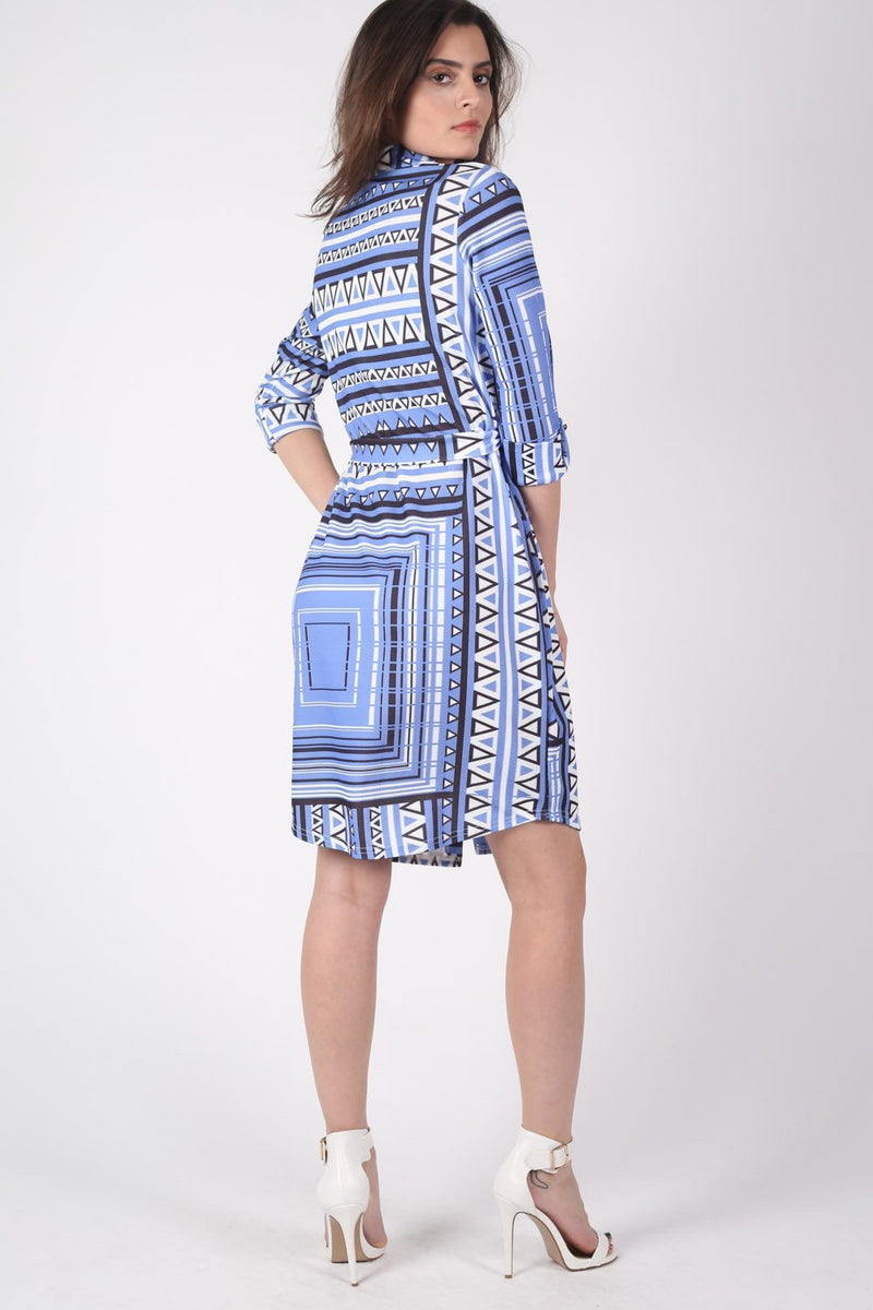 Crepe Geometric Print Belted Shirt Dress in Blue MODEL BACK