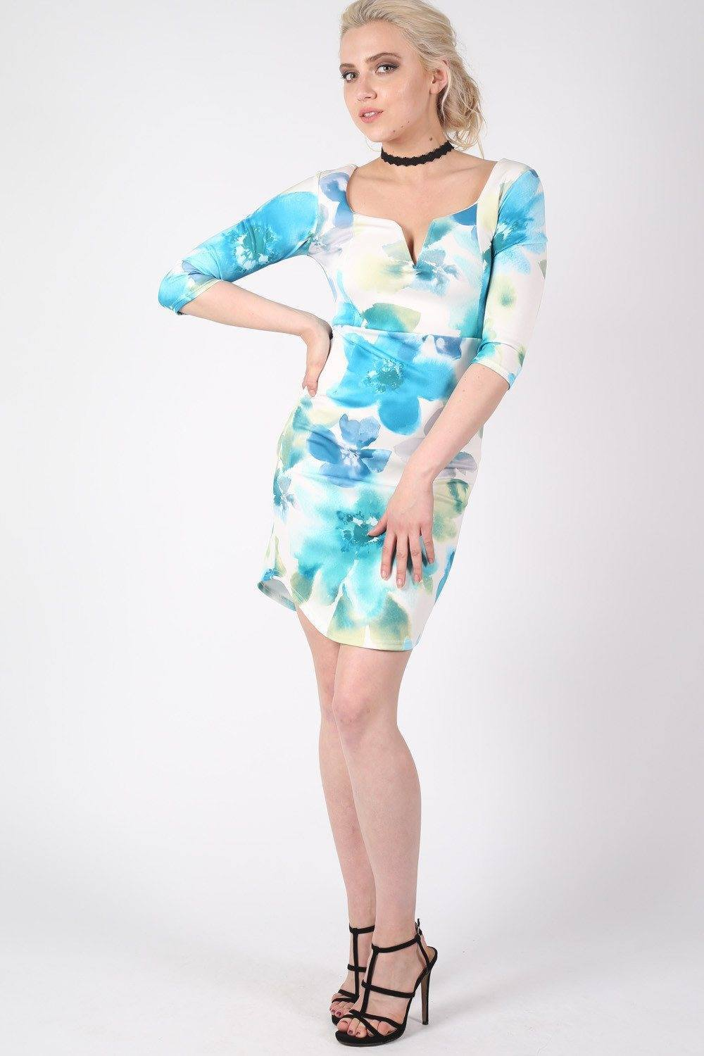 Half Sleeve Floral Bodycon Dress in Turquoise MODEL FRONT