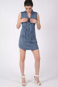Lace Up Front Shift Denim Dress MODEL FRONT