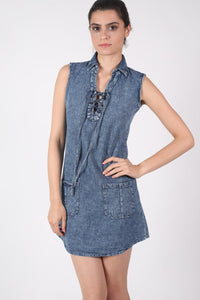 Lace Up Front Shift Denim Dress MODEL FRONT 2
