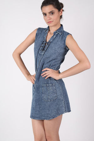 Lace Up Front Shift Denim Dress MODEL FRONT 3