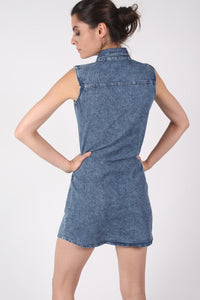Lace Up Front Shift Denim Dress MODEL BACK
