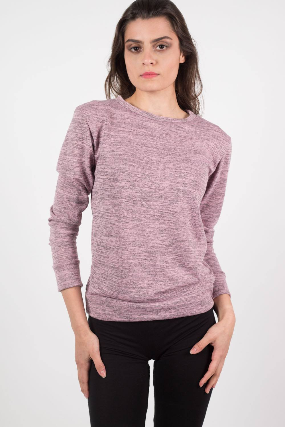 Loungewear Crew Neck Top in Dusty Pink MODEL FRONT