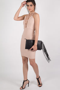 Caged Front Bodycon Dress in Nude MODEL SIDE