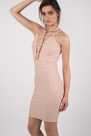 Caged Front Bodycon Dress in Nude MODEL SIDE 2