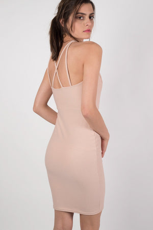 Caged Front Bodycon Dress in Nude MODEL BACK