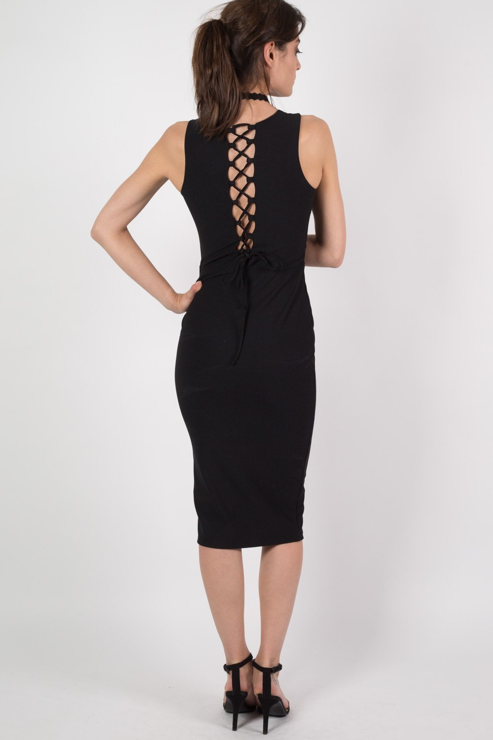 Deep V Front Lace Up Back Bodycon Midi Dress in Black MODEL BACK