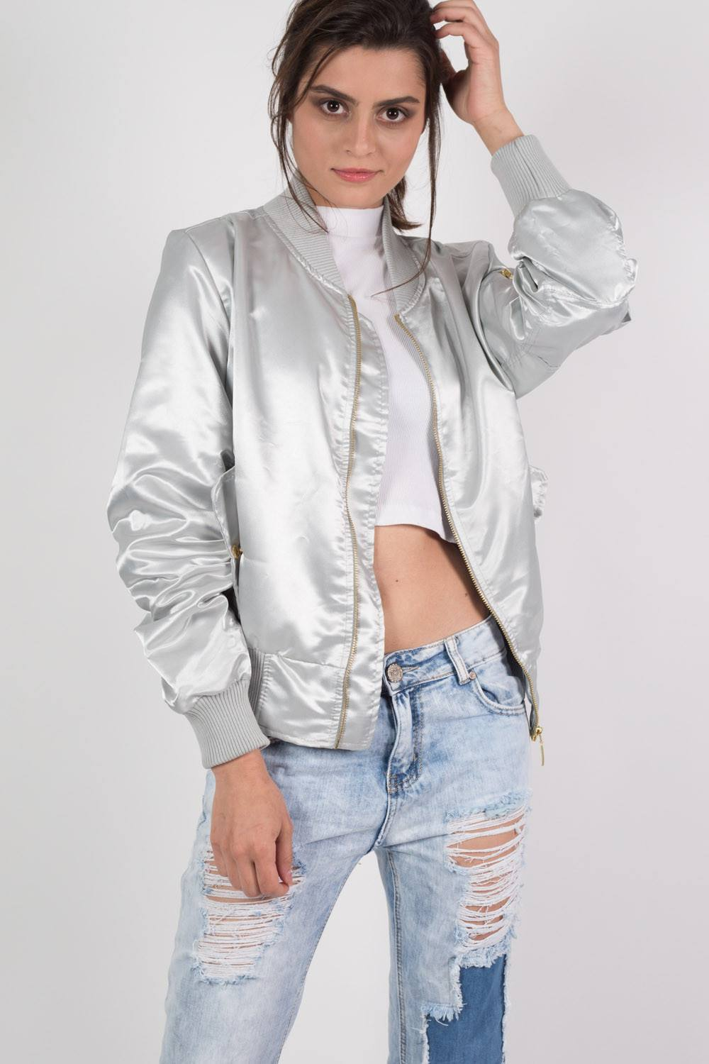 Luxe Satin Bomber Jacket in Silver MODEL FRONT