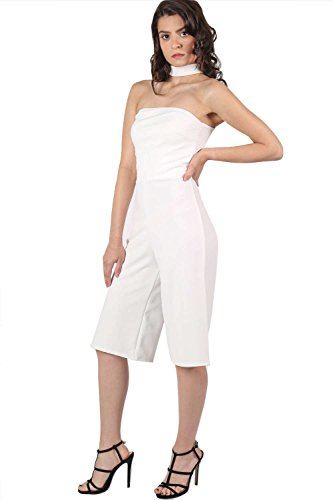 Choker Detail Culotte Jumpsuit in Cream