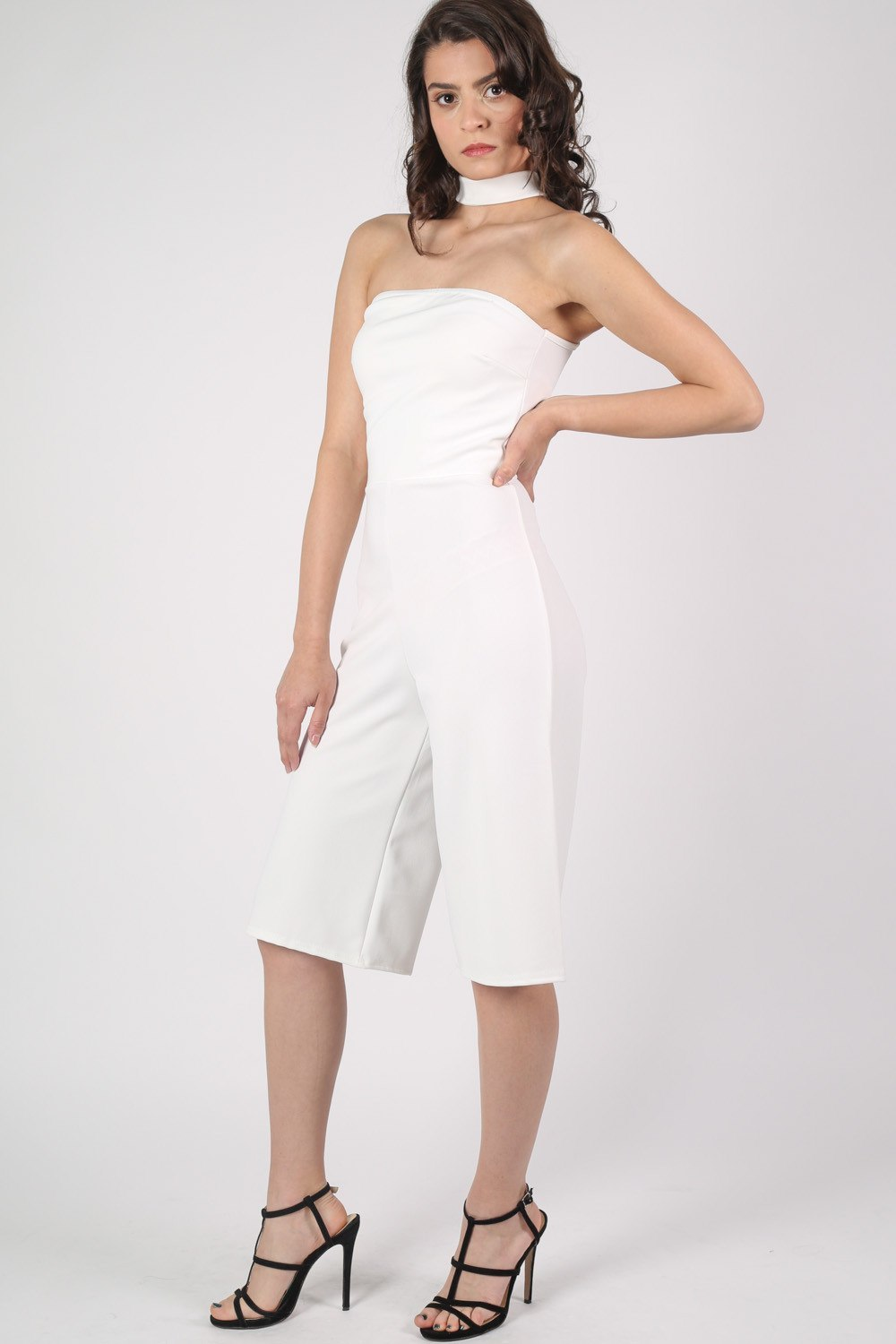 Choker Detail Culotte Jumpsuit in Cream MODEL FRONT