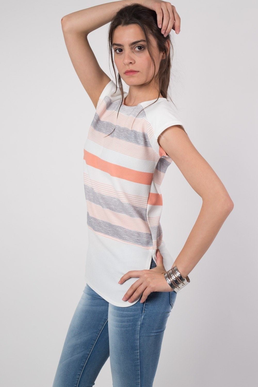 Stripe Contrast Hem Top in Cream MODEL SIDE