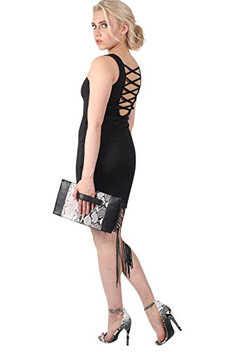 Criss Cross Back Bodycon Dress in Black