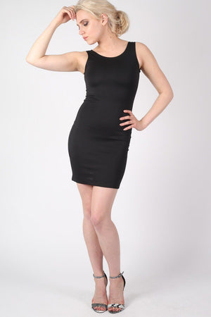 Criss Cross Back Bodycon Dress in Black MODEL FRONT
