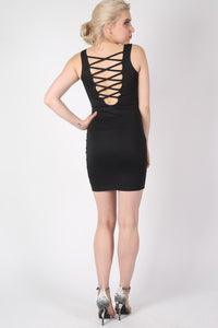 Criss Cross Back Bodycon Dress in Black MODEL BACK