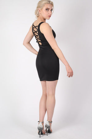 Criss Cross Back Bodycon Dress in Black MODEL SIDE 2