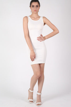 Criss Cross Back Bodycon Dress in Ivory White MODEL FRONT