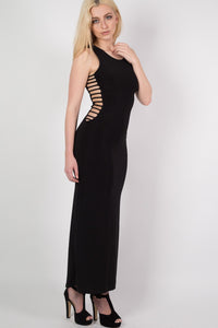 Cut Out Sides Maxi Dress in Black MODEL SIDE