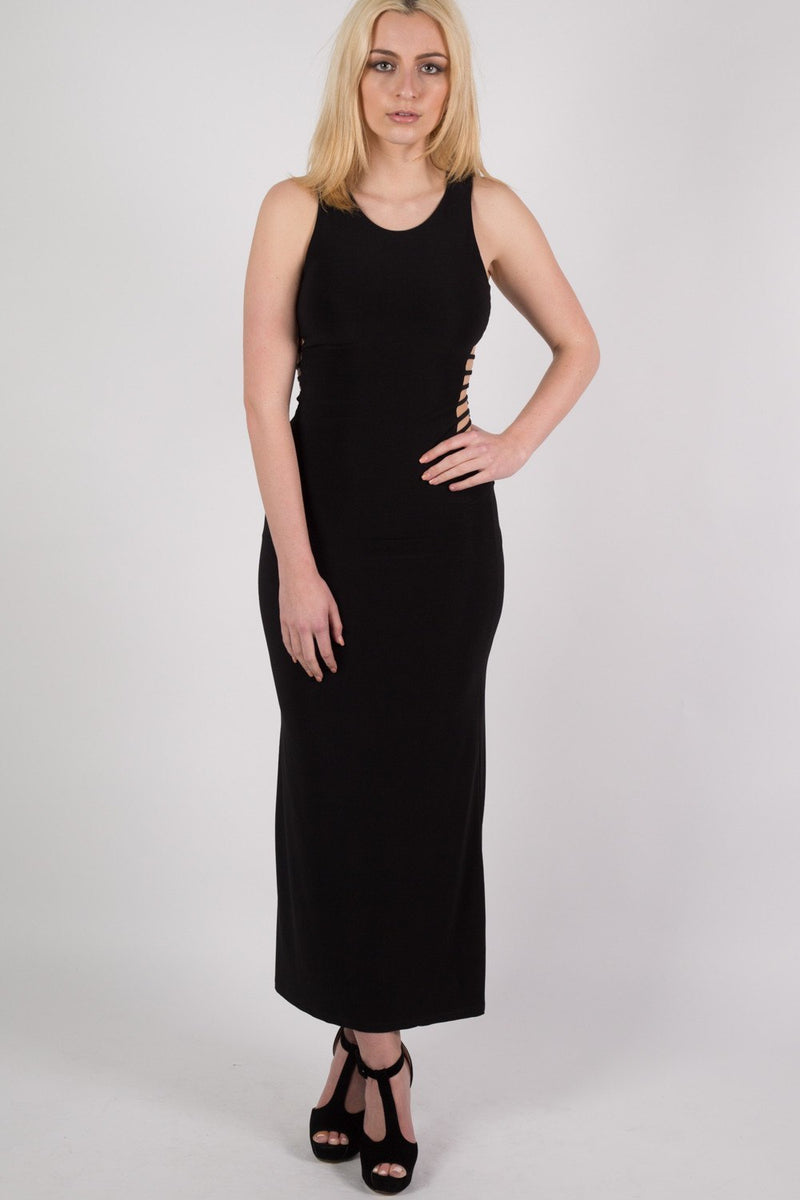 Cut Out Sides Maxi Dress in Black MODEL FRONT