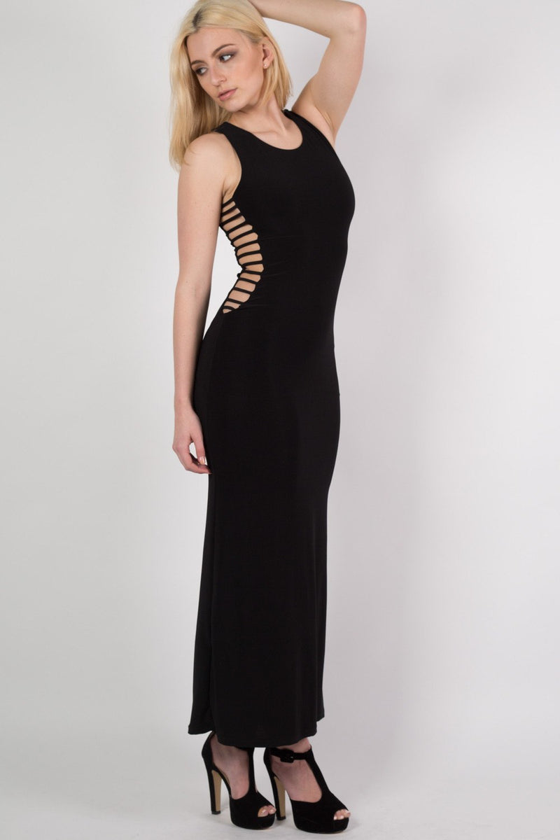 Cut Out Sides Maxi Dress in Black MODEL SIDE 2