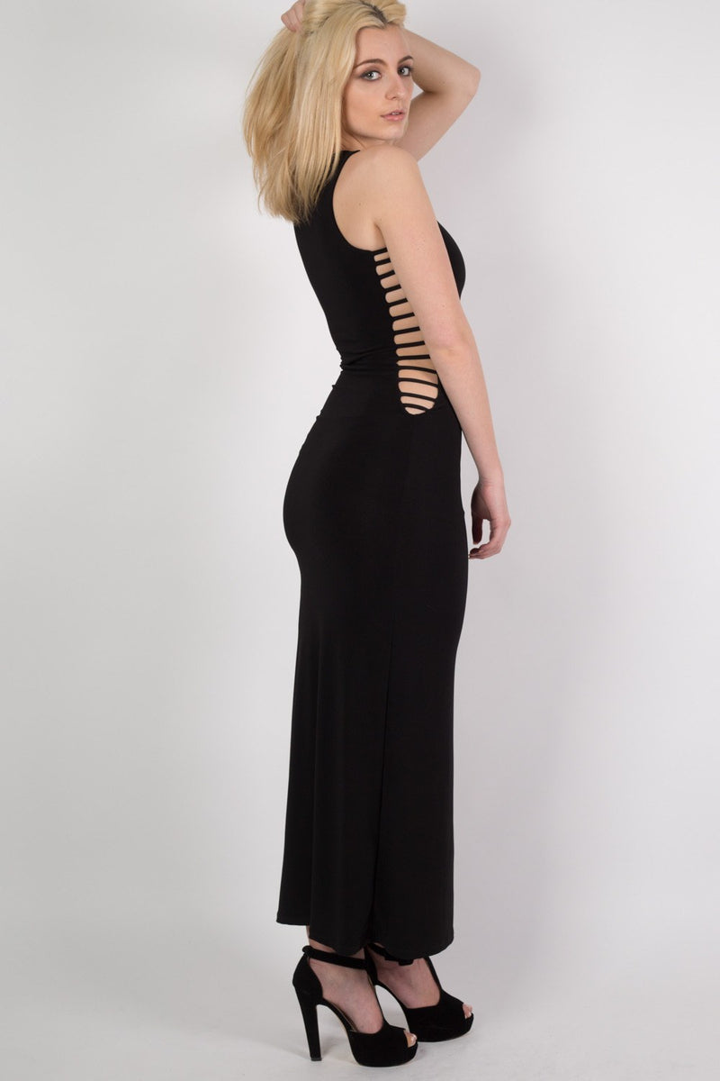 Cut Out Sides Maxi Dress in Black MODEL SIDE 3