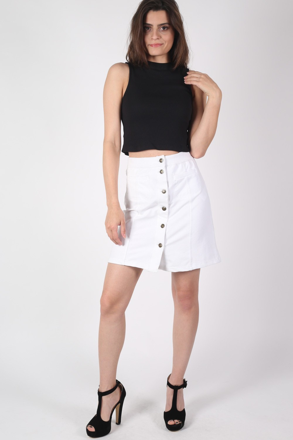 Patch Pocket Button Front Mini Skirt in White MODEL FRONT
