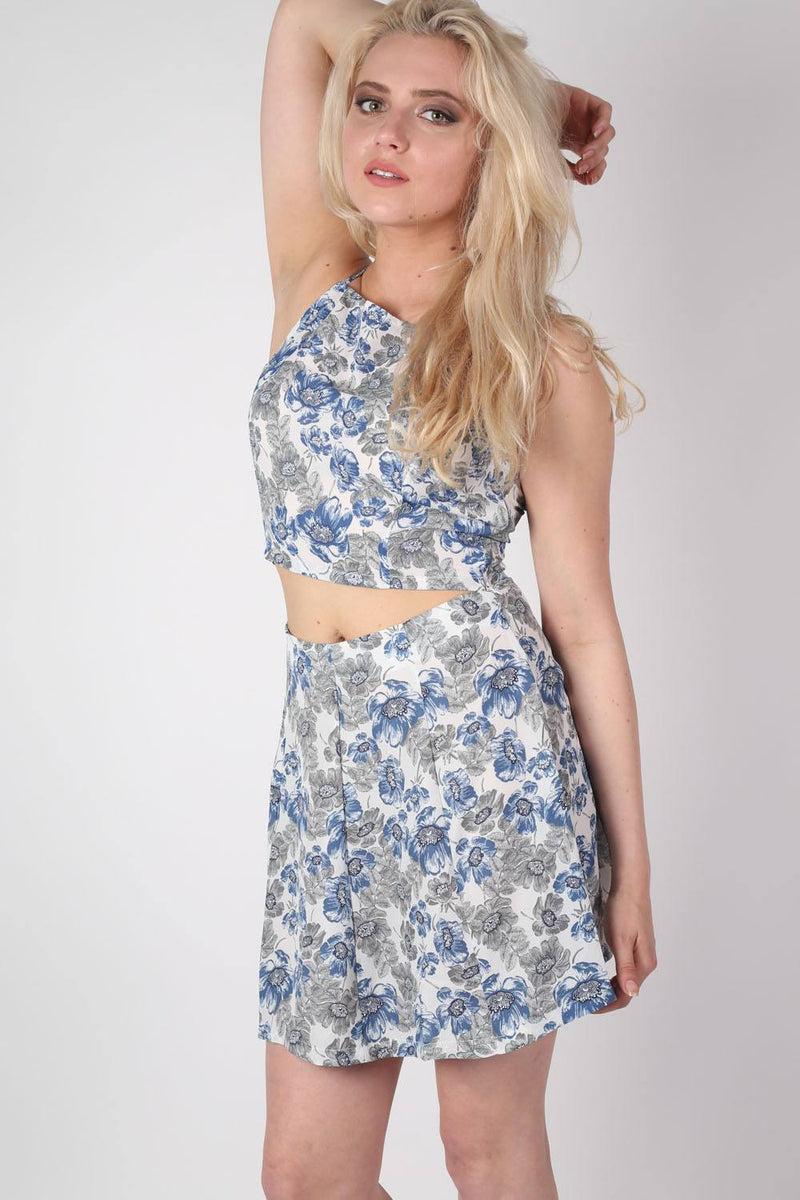 Floral Print A-Line Mini Skirt in Blue MODEL FRONT