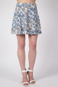 Floral Print A-Line Mini Skirt in Blue MODEL FRONT 2