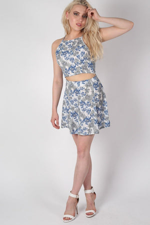 Floral Print A-Line Mini Skirt in Blue MODEL FRONT 3