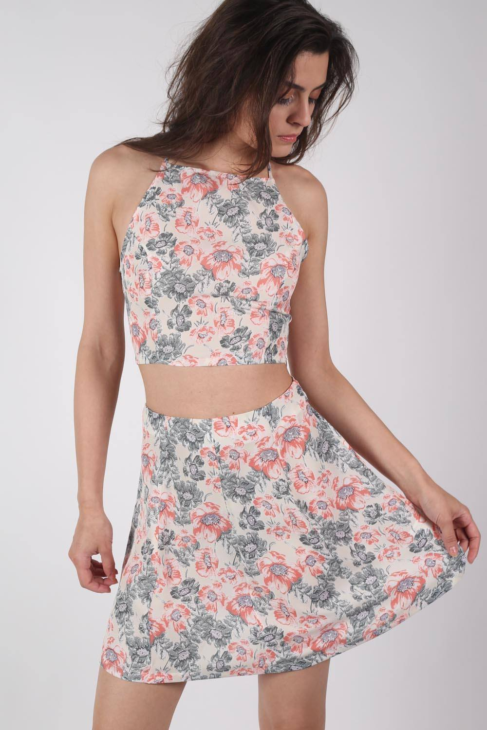 Floral Print A-Line Mini Skirt in Pale Pink MODEL FRONT