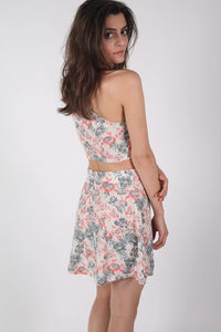 Floral Print Crop Top in Pale Pink MODEL BACK