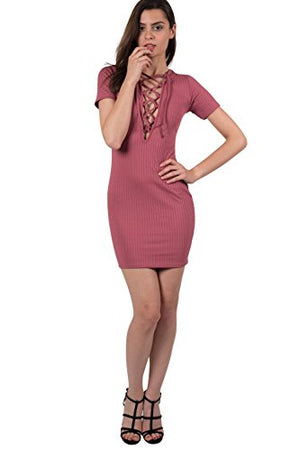 Rib Lace Up Front Mini Dress in Rose Pink