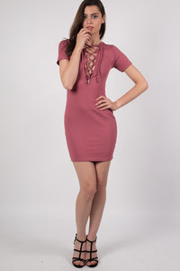 Rib Lace Up Front Mini Dress in Rose Pink MODEL FRONT