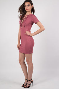 Rib Lace Up Front Mini Dress in Rose Pink MODEL SIDE
