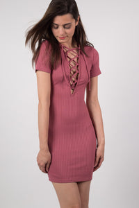 Rib Lace Up Front Mini Dress in Rose Pink MODEL FRONT 2