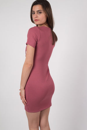 Rib Lace Up Front Mini Dress in Rose Pink MODEL BACK