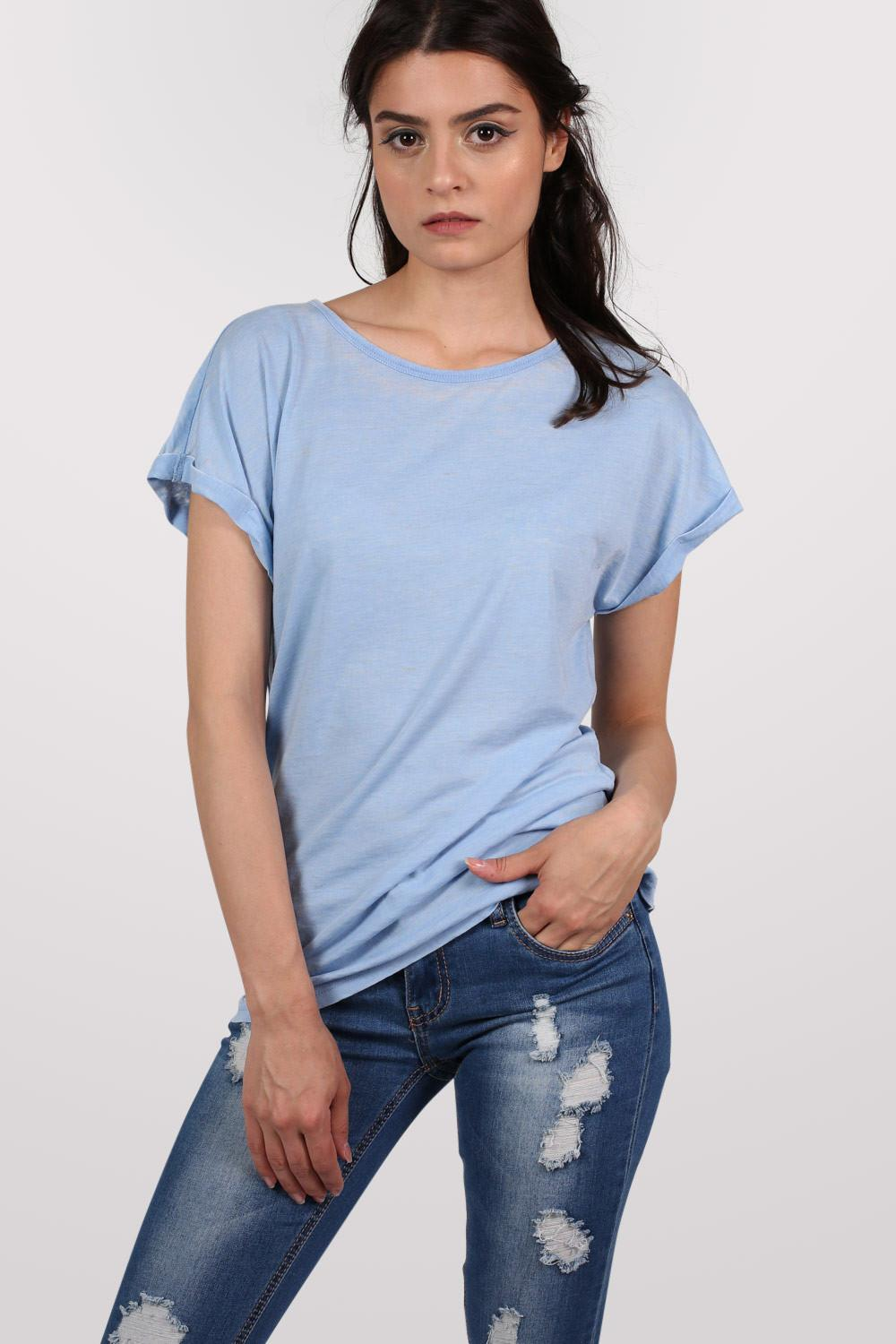 Burnout Oversized T-Shirt in Dusty Blue MODEL FRONT