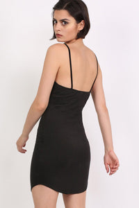 Basic Strappy Bodycon Curved Hem Mini Dress in Black 3
