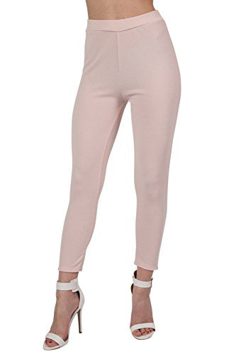Textured Fabric Cigarette Trousers in Nude