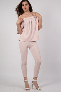 Textured Fabric Cigarette Trousers in Nude MODEL FRONT