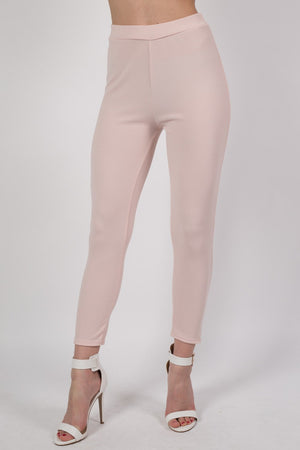 Textured Fabric Cigarette Trousers in Nude MODEL FRONT 2