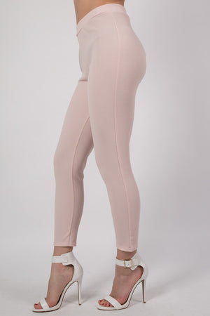 Textured Fabric Cigarette Trousers in Nude MODEL SIDE