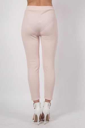 Textured Fabric Cigarette Trousers in Nude MODEL BACK