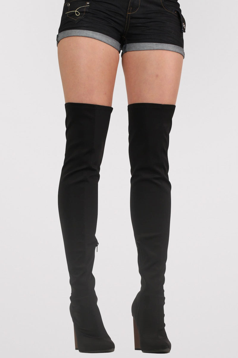 Over The Knee High Heeled Neoprene Boots in Black MODEL FRONT