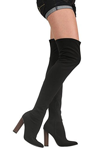 Over The Knee High Heeled Neoprene Boots in Black